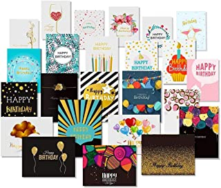 24 Happy Birthday Cards with Gold Embellishments Design and 26 Envelopes - Unomor Birthday Greeting Cards Assorted - New U...