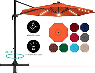 Best Choice Products 10ft 360-Degree LED Aluminum Polyester Cantilever Offset Hanging Market Patio Umbrella for Outdoor Shade, Backyard, Poolside w/Easy Tilt and Smooth Gliding Handle - Orange