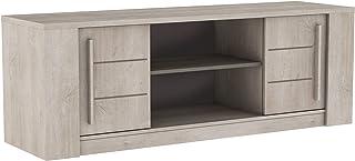 Demeyere Antibes - Mueble de TV contemporáneo - Estante Central de hormigón Claro 2 Puertas correderas - Colección Antibes