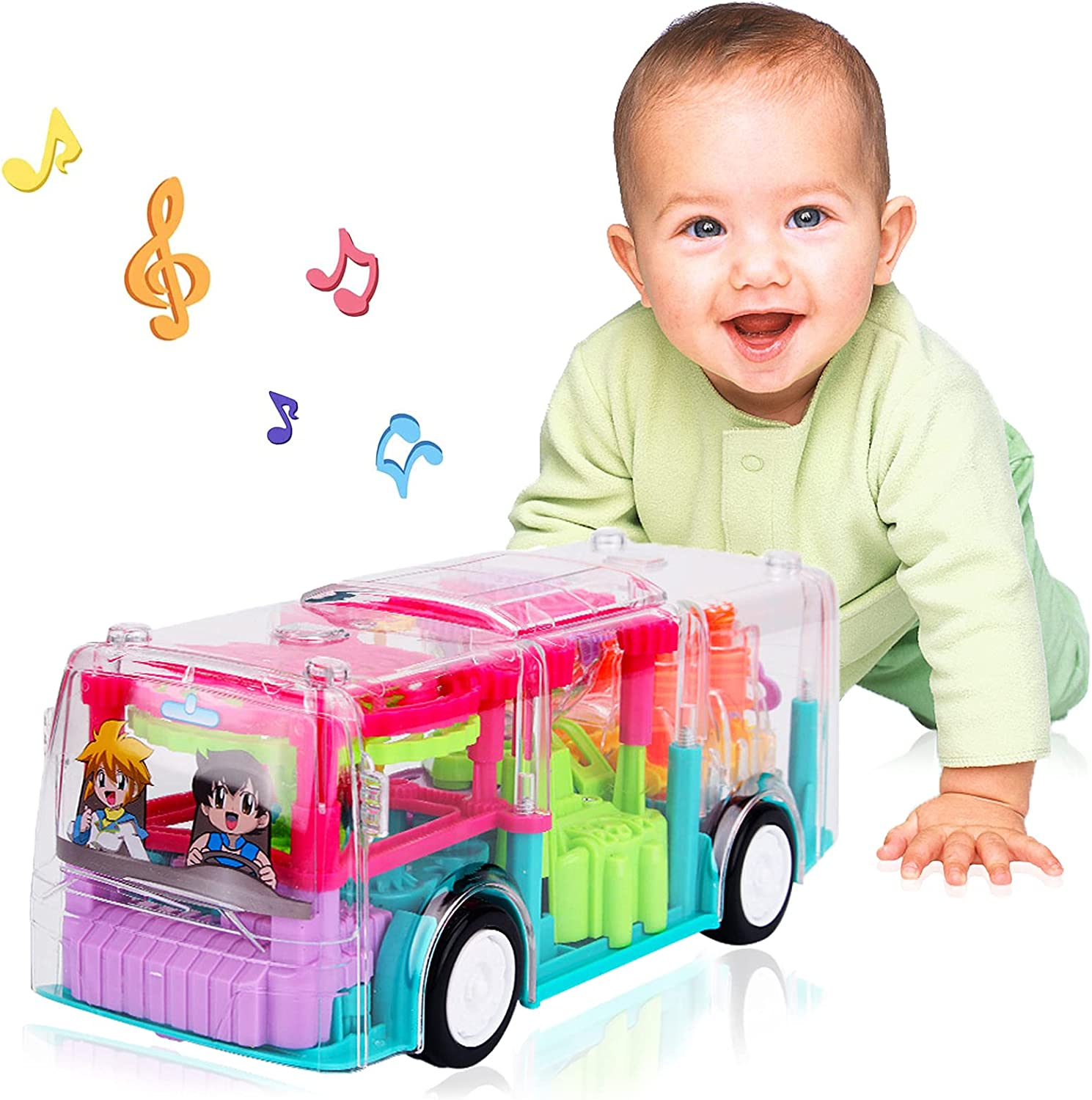 Noetoy Baby Toys 12-18 Months, Electronic Bus Infant Baby Toys 6 to 12 Months Kids Crawling Toys with Cool Light & Sound Effect, Early Educational Gift Toys for 1 2 3 Year Old Boys Girls (Bus)