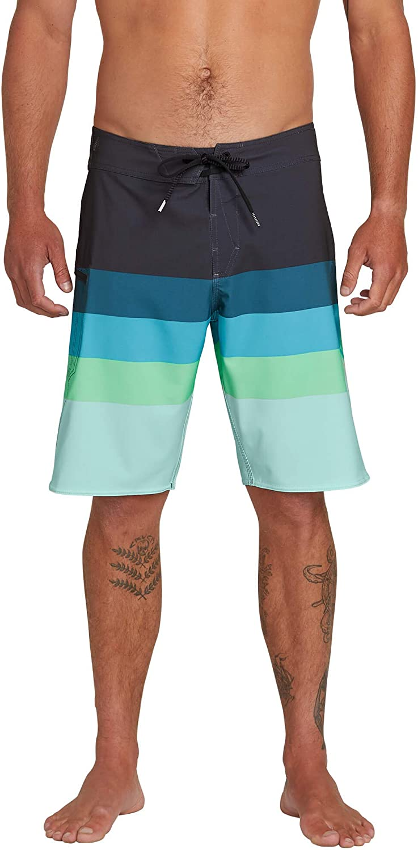 Volcom Men's Lido Liney Mod Stretch 21  Boardshort, Asphalt Black, 31