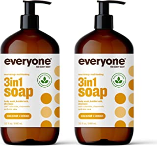 Everyone 3-in-1 Soap: Body Wash, Bubble Bath, and Shampoo, Coconut and Lemon, 32 Ounce, 2..