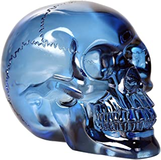 Pacific Giftware Crystal Clear Translucent Skull Collectible Figurine 4.5 Inch (Blue)