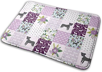 "Pitbull Cheater Quilt - Floral Quilt, Quilt Top, Patchwork, Dog Quilt, Dog Design, Floral Dog, Floral Pitbull - Purple_20480 Doormat Entrance Mat Floor Mat Rug Indoor/Outdoor/Front Door/Bathroom Mats Rubber Non Slip 23.6"" X 15.8"""