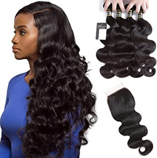 Puddinghair Body Wave 4 Bundle with Closure Brazilian Human Hair Bundle with Closure Natural Black Unprocessed Virgin Hair Bundle with Closure(18
