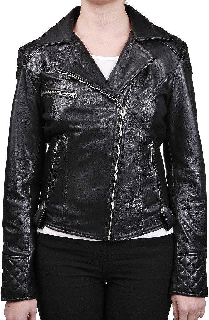 Women's Retro Quilted Black Leather Biker Jacket