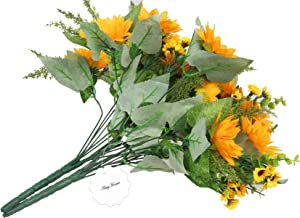 AmyHomie Artificial Sunflower Bouquet,7 Flowers Per Bunch, 2 Bunches Per Pack