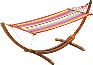 Outsunny 10.5' Solid Pine Wood Outdoor Single Person Curved Hammock with Stand