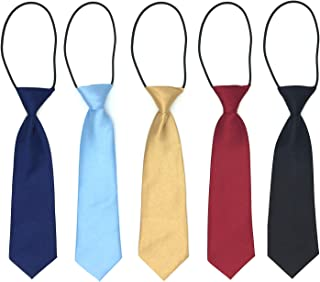 Elesa Miracle Boys Pre-tied Elastic Neck Strap Tie Little Boys Necktie Value Set of 5