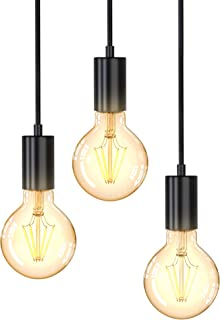 B.K.Licht I Lámpara colgante vintage I 3-flame I E27 I negro mate I lámpara colgante retro I diferentes alturas I Ø210x1200mm