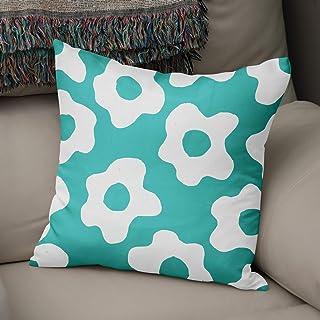 Bonamaison Flores Fundas para Cojínes, Cotton, Verde Azulado, 43x43 Cm