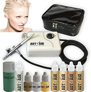Art of Air FAIR Complexion Professional Airbrush Cosmetic Makeup System / 4pc Foundation Set with Blush, Bronzer, Shimmer and Primer Makeup Airbrush Kit