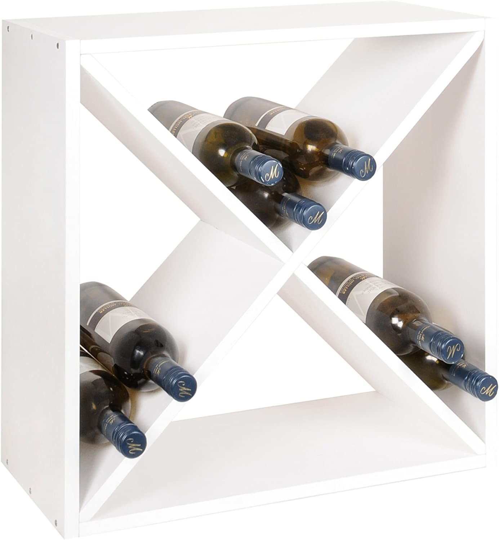 Sistema botellero modular X-CUBE, teido blancoo, máx. 28 botellas, apilable   ampliable - alt. 52 x anch. 52 x pr. 25 cm