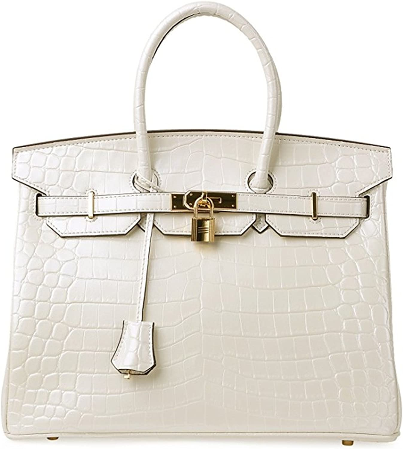 Padlock Bag Women Crocodile Leather Top Handle Handbags Pearl White 30cm