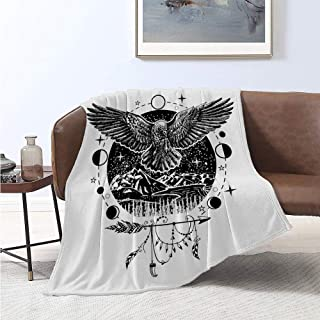 Luoiaax Crow Luxury Special Grade Blanket Sketch Tattoo Art Bird Spread Wings Nature Moon Phases Boho Elements Multi-Purpose use for Sofas etc. W60 x L50 Inch Charcoal Grey and White