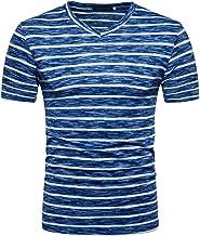 T-Shirts, Kurzarm Shirts Klassisches Streifen T-Shirt Print Shirt Basic V-Ausschnitt Kurzarmshirt Sweatshirt Weste Tops Große Größe S-XXL ABsoar
