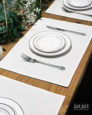 Letjolt Simple Placemats Double-Deck Placemats Set of 4 Wedding Party Polyester Placemats Dining Table Place Mats for Kitchen