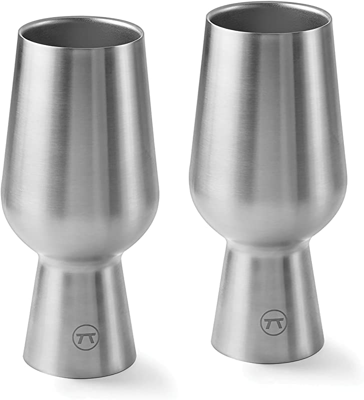 Outset 76451 Chalice Stainless Steel Double Wall IPA Beer Glass Set Of 2