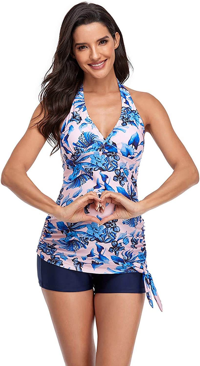 Maternity Tankini Swimsuit,Floral Halter Sexy Casual Plus Size Bathing Suit Swimwear Swim Bottoms for Mom Beach Summer
