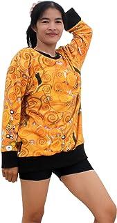 Raan Pah Muang RaanPahMuang Gustav Klimt The Tree of Life Lined Jumper Shirt