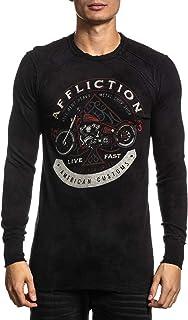 Affliction Men's Reversible Graphic Long Sleeve Shirt, AC Petina Variant, Thermal Crew Neck