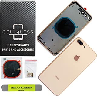 CELL4LESS Back Housing Assembly Metal Frame w/Back Glass - Wireless Charging pad - Sim Card Tray and Camera Frame w/Lens Compatible Only with iPhone 8 Plus (Gold)