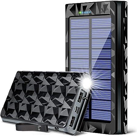 【最新版26800mAh LEDライト付き PSE認証済】モバイルバッテリー ソーラーチャージャー 防災 携帯充電器 太陽光パネル ポータブル充電器 USB 防水 耐衝撃 災害/非常時/アウトドアの必携品 iPhone/iPad/Android対応