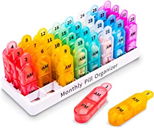 Monthly Pill Organizer 2 Times a Day, 30 Day One Month Pill Box Organizer, 31 Day Pill Organizer AM PM with Removable Compartments, Pill Case Container to Hold Vitamins, Fish Oil and Medication