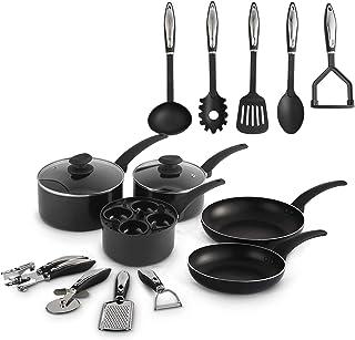 VonShef Juego de Utensilios de Cocina de aluminio de 15 piezas - Juego de sartenes y ollas - Regalo ideal para estudiantes/inauguración de la casa