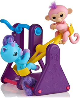 WOW Teeter Totter Playset w/ Two Cute & Brightly Colored Fingerlings, Monkey Coral & Unicorn Callie – Interactive Finger Toys Great for Hours of Fun for Kids