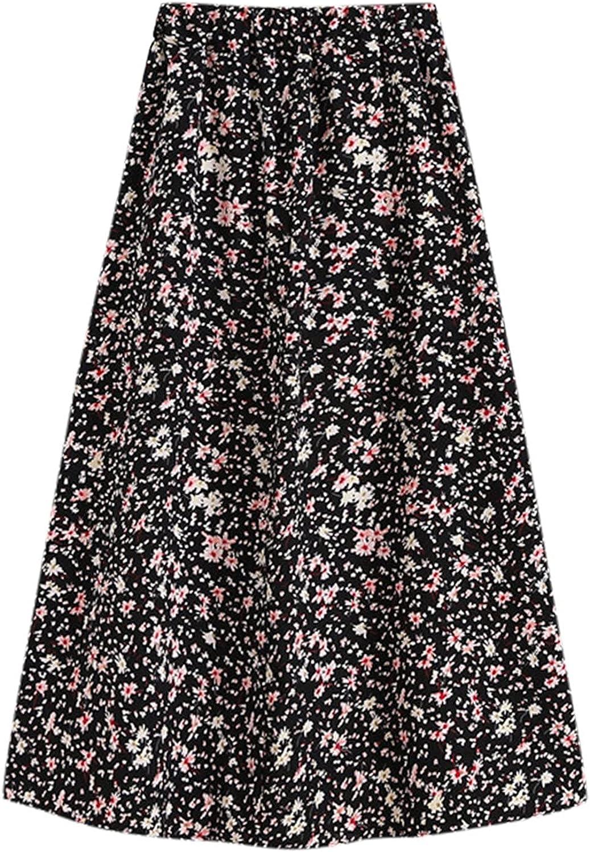 HDgTSA Women's Skirt Elastic High Waist Floral Casual Pleated Midi Skirt Hip Wrap Skirt