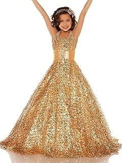 Shining Girl Dresses Long Sequins Pageant Girls Dresses Wedding Flower Toddler Gown 16