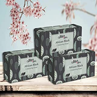 Mirah Belle - Organic Black African Soap Bar (Pack of 3-125 gm) - For Healing Acne, Pimples, Scars, Blemishes & Breakouts....