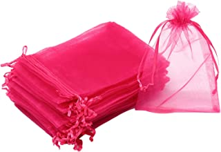 Dealglad 100Pcs Organza Bags 4x6 inches Rose, Drawstring Jewelry Candy Pouches Wedding Party Christmas Favor Gift Bags