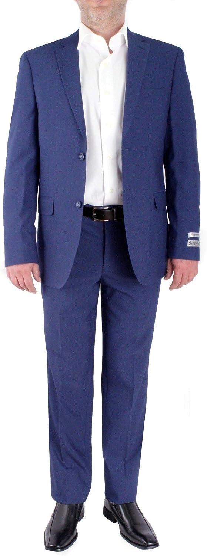 PAOLO GIARDINI Slim Fit Two Piece Men's Suit Birds Eye Pattern 2 Button Side Vents Flat Front Pants (40 Long US Jacket X 34 Waist Pants, Royal Blue)