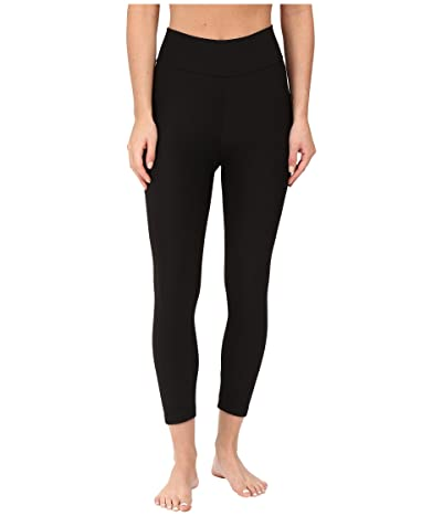 Plush Fleece-Lined Cropped Athletic Leggings with Hidden Pocket (Black) Women