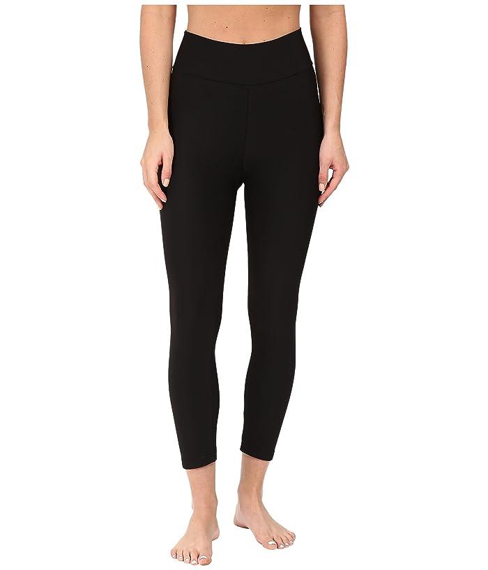 Plush Fleece-Lined Cropped Athletic Leggings with Hidden Pocket (Black) Women
