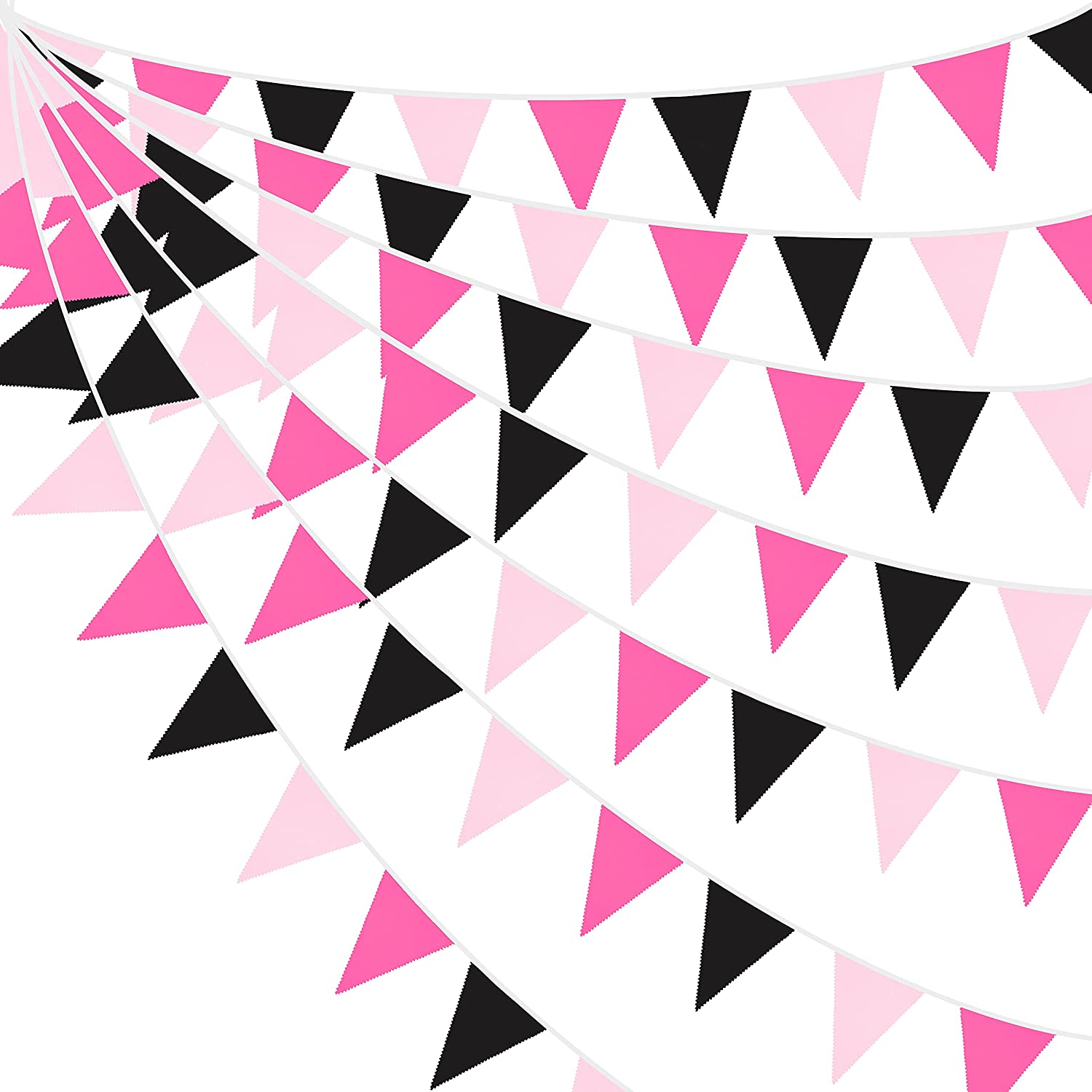32Ft Rose Hot Pink Black Pennant Fabric Now free shipping Triangle Flag Cot Banner Tucson Mall