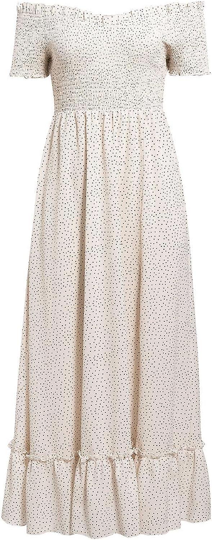 Miessial Women's Polka Dot Off Shoulder Long Dress Cute Summer Split Maxi Dress