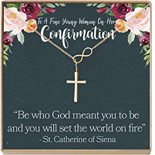 Confirmation Gift Necklace: Holy Confirmation for Girls, Christian Faith, Infinity Cross