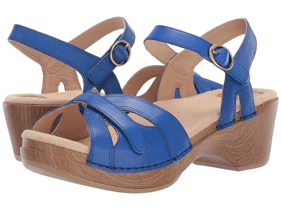 Vintage Sandals   Wedges, Espadrilles – 30s, 40s, 50s, 60s, 70s Dansko Season Cobalt Burnished Calf Womens  Shoes $119.95 AT vintagedancer.com