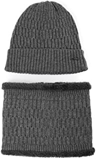 Jeff & Aimy 2 Piece Wool Knit Hat & Scarf Sets Fleece Lined Beanie Neck Warmer