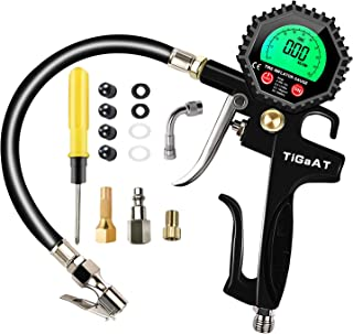 TiGaAT Digital Tire Pressure Gauge Inflator,200 PSI Tire Inflator Air Chuck Compressor Accessories with 360° Rubber Hose for Car Bike Rv Truck Automobile and Motorcycle (Green)