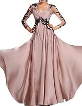 OYISHA Women's Long Ruched V-Neck Chiffon Evening Dresses 3/4 Sleeve Formal Ball Gowns 2019 EV49