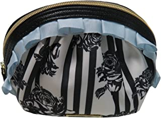 New Betsey Johnson Logo Cosmetics Make Up Bag Case Black White Floral Roses