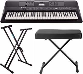 $449 Get Yamaha PSREW410 76-key Portable Keyboard with Power Adapter, Knox Double X Keyboard Stand & Bench