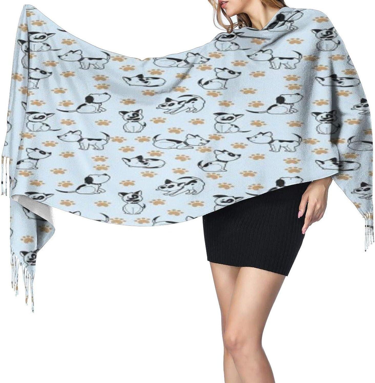 Cashmere fringed scarf cute dog winter extra large scarf
