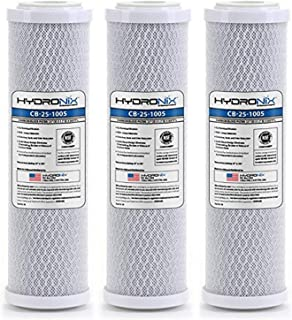 Hydronix HX-CB-25-1005/3 Whole House RO & Drinking Systems NSF Coconut Carbon Block Water Filter 2.5 x 10-5 micron, White