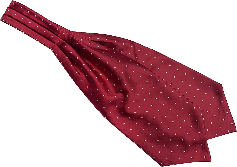 Secdtie Men's Polka Dot Plaid Silk Cravat Ties Jacquard Woven Casual Ascot