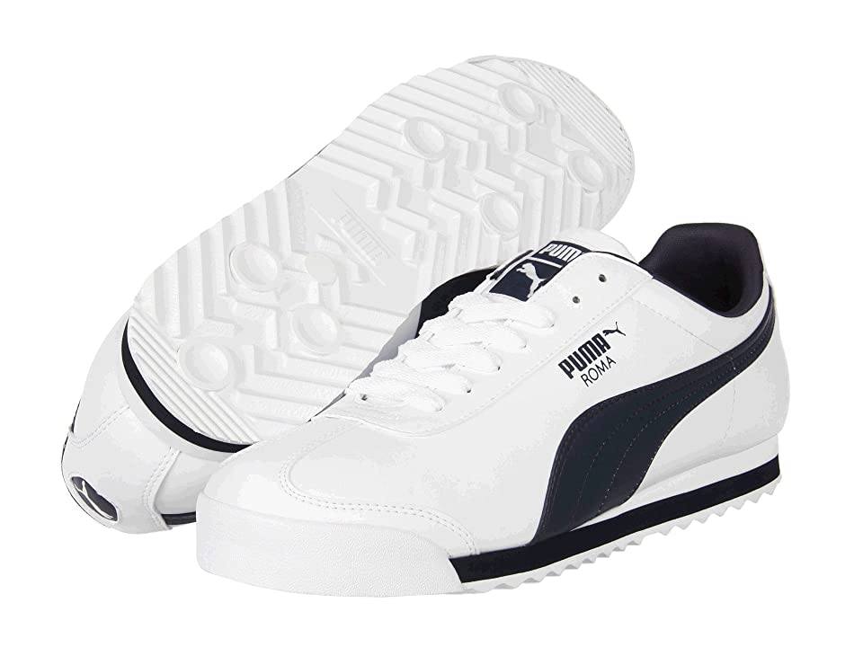 PUMA Roma Basic (White/New Navy) Men's  Shoes